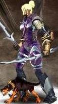 Фиолетовый Щенок-демон в бою