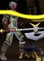 Зеленый Щенок-демон в бою